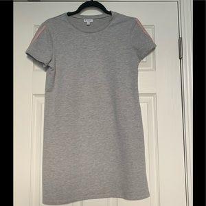 Gray t-shirt dress.